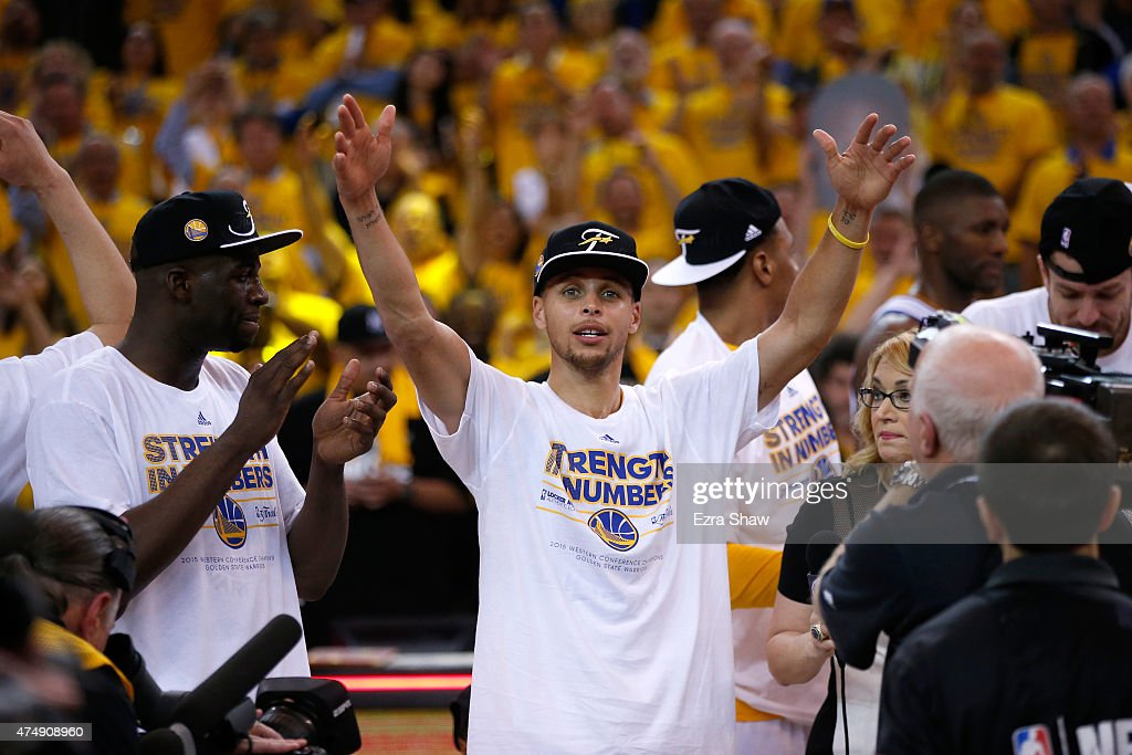 Stephen Curry #30 of the Golden State Warriors celebrates the Warriors 104-90 victory against the Houston Rockets during game five of the Western Conference Finals of the 2015 NBA Playoffs at ORACLE Arena on May 27, 2015 in Oakland, California.