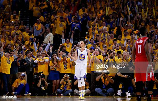 Stephen Curry of the Golden State Warriors celebrates their 110 to 106 win over the Houston Rockets during Game One of the Western Conference Finals...