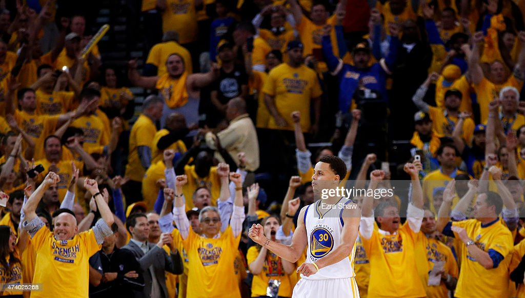 Stephen Curry #30 of the Golden State Warriors celebrates their 110 to 106 win over the Houston Rockets during Game One of the Western Conference Finals of the 2015 NBA Playoffs at ORACLE Arena on May 19, 2015 in Oakland, California.