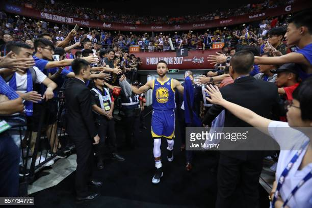 Stephen Curry of the Golden State Warriors comes through the tunnel after halftime against the Minnesota Timberwolves as part of the 2017 Global...