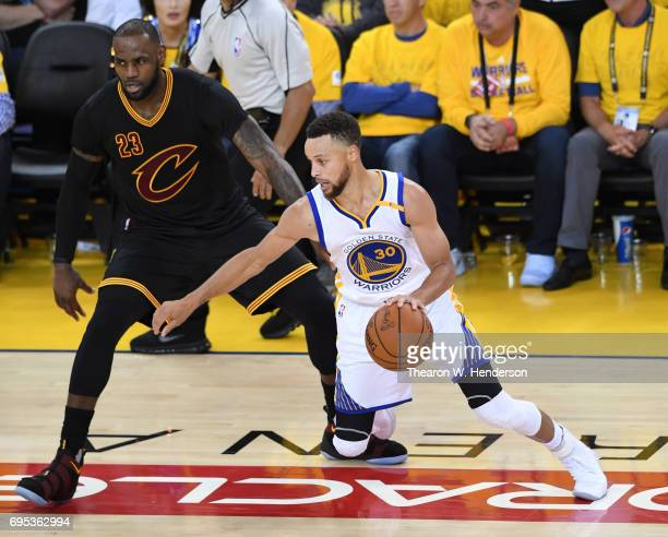 Stephen Curry of the Golden State Warriors d LeBron James of the Cleveland Cavaliers during the second half in Game 5 of the 2017 NBA Finals at...