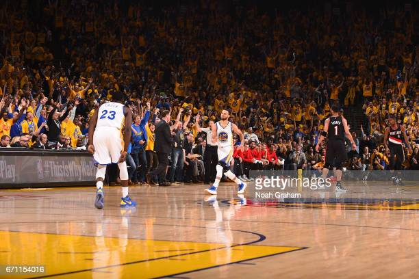Stephen Curry of the Golden State Warriors dances as he celebrates a three point basket during Game Two of the Western Conference Quarterfinals...