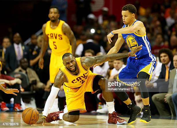 Stephen Curry of the Golden State Warriors defends against LeBron James of the Cleveland Cavaliers in the first quarter during Game Four of the 2015...