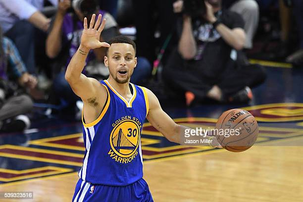 Stephen Curry of the Golden State Warriors dribbles the ball against the Cleveland Cavaliers in Game 4 of the 2016 NBA Finals at Quicken Loans Arena...