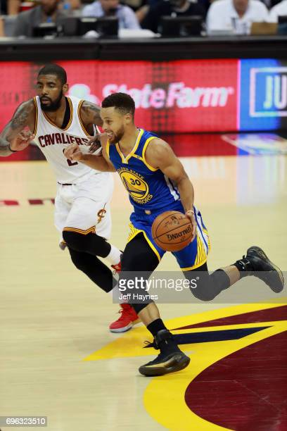 Stephen Curry of the Golden State Warriors dribbles the ball against the Cleveland Cavaliers in Game Four of the 2017 NBA Finals on June 9 2017 at...