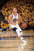 Stephen Curry of the Golden State Warriors dribbles the ball during Game Two of the Western Conference Quarterfinals against the New Orleans Pelicans...