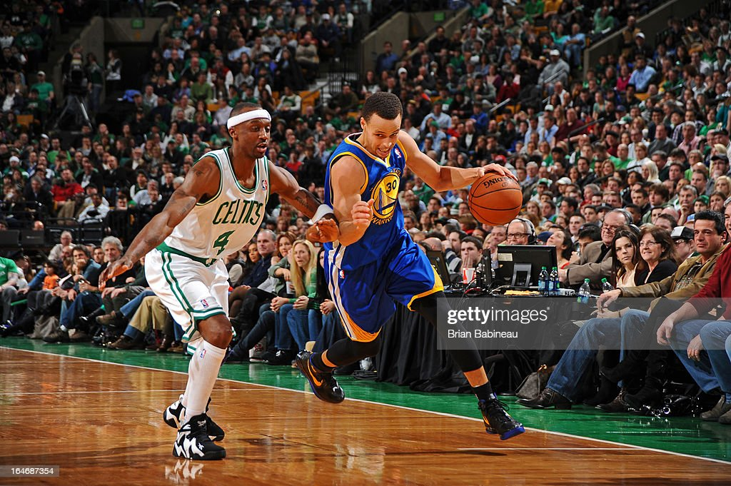 Stephen Curry #30 of the Golden State Warriors drives to the basket against the Boston Celtics on March 1, 2013 at the TD Garden in Boston, Massachusetts.