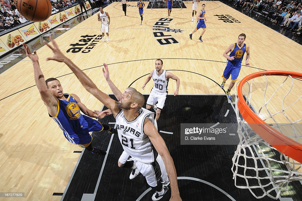 Stephen Curry #30 of the Golden State Warriors drives to the basket against the San Antonio Spurs on March 20, 2013 at the AT&T Center in San Antonio, Texas.