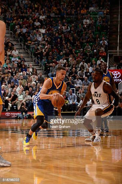 Stephen Curry of the Golden State Warriors drives to the basket against the Utah Jazz on March 30 2016 at vivintSmartHome Arena in Salt Lake City...