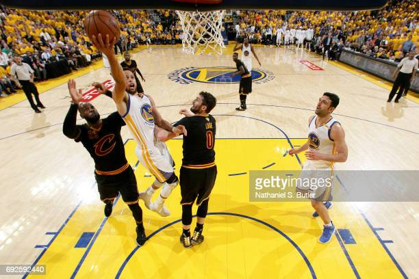 Stephen Curry of the Golden State Warriors drives to the basket against the Cleveland Cavaliers in Game Two of the 2017 NBA Finals on June 4 2017 at...