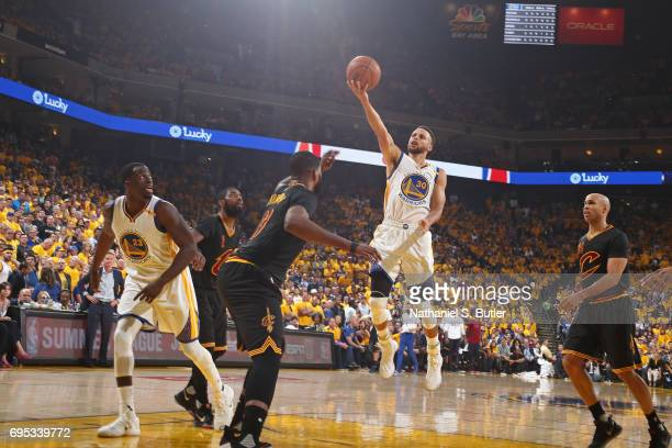 Stephen Curry of the Golden State Warriors drives to the basket against the Cleveland Cavaliers in Game Five of the 2017 NBA Finals on June 12 2017...