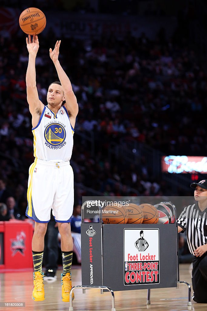Stephen Curry of the Golden State Warriors during the Foot Locker Three-Point Contest part of 2013 NBA All-Star Weekend at the Toyota Center on February 16, 2013 in Houston, Texas.