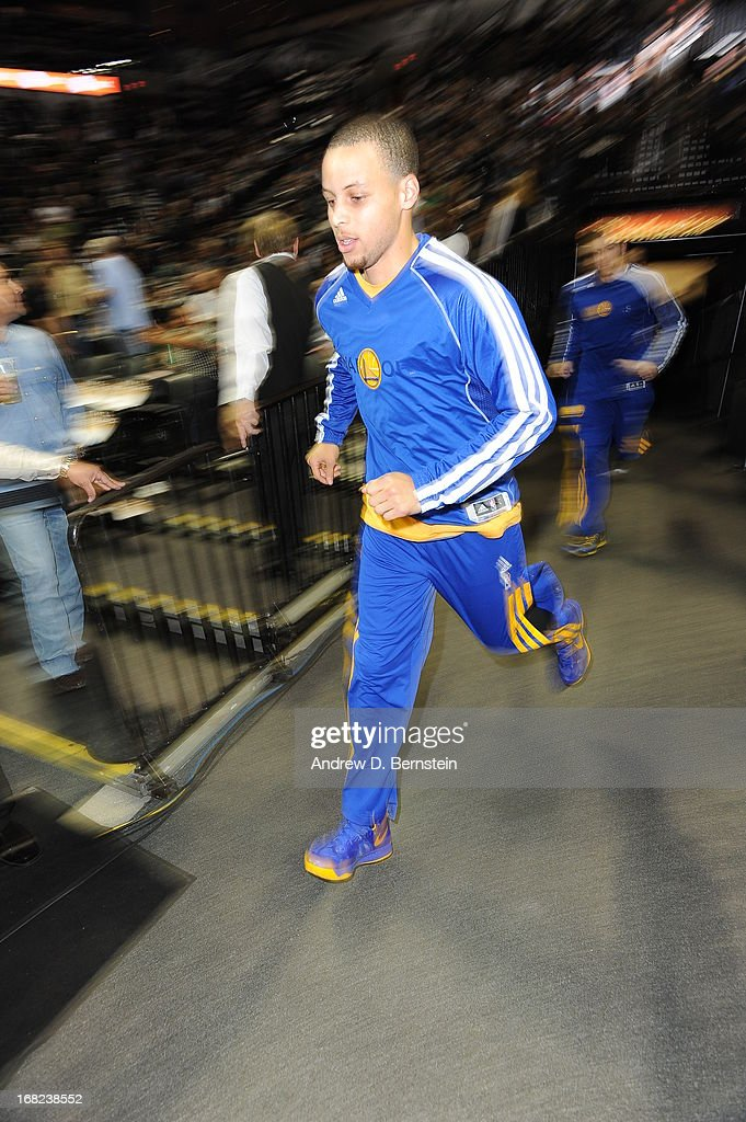 Stephen Curry #30 of the Golden State Warriors enters the arena before the game against the San Antonio Spurs in Game One of the Western Conference Semifinals during the 2013 NBA Playoffs on May 6, 2013 at the AT&T Center in San Antonio, Texas.