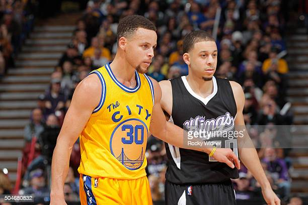Stephen Curry of the Golden State Warriors faces off against Seth Curry of the Sacramento Kings on January 9 2016 at Sleep Train Arena in Sacramento...
