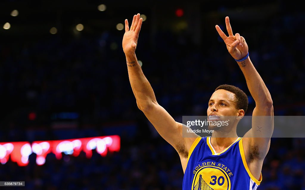Stephen Curry of the Golden State Warriors gestures during the fourth quarter against the Oklahoma City Thunder in game six of the Western Conference...