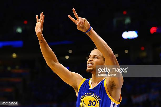 Stephen Curry of the Golden State Warriors gestures during the second half against the Oklahoma City Thunder in game six of the Western Conference...