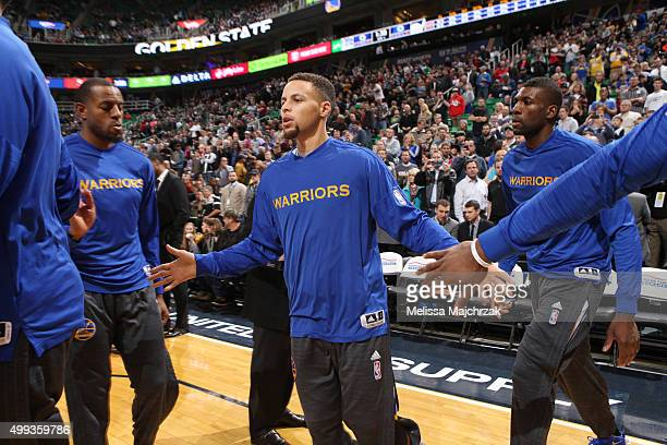 Stephen Curry of the Golden State Warriors gets introduced before the game against the Utah Jazz on November 30 2015 at EnergySolutions Arena in Salt...