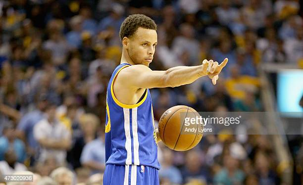 Stephen Curry of the Golden State Warriors gives instructions to his teaml against the Memphis Grizzlies during Game four of the Western Conference...