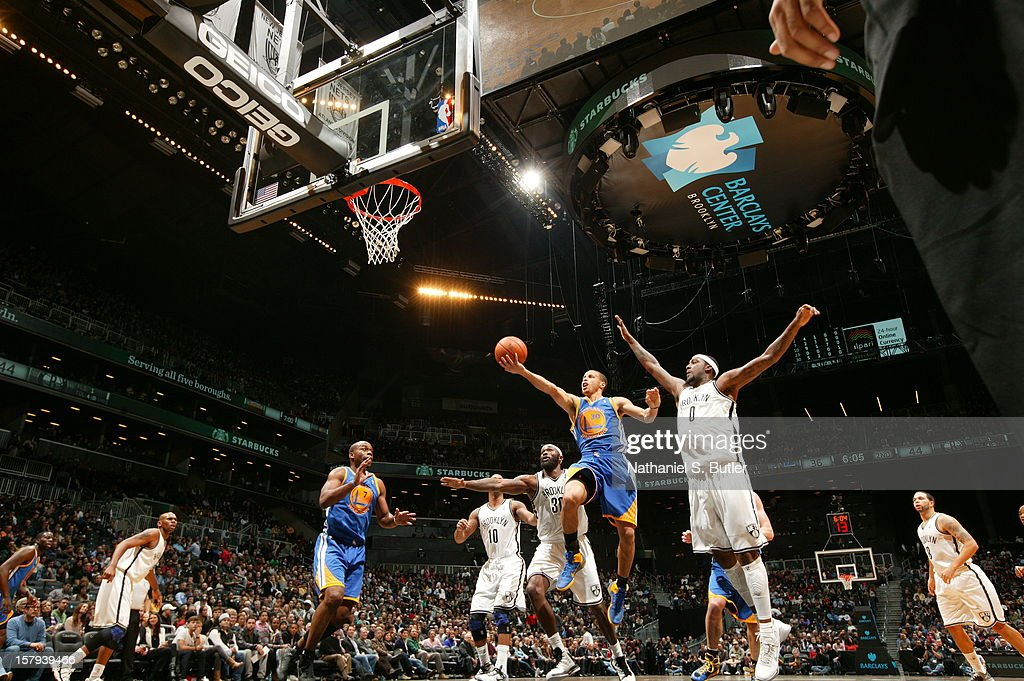 Stephen Curry #30 of the Golden State Warriors goes to the basket against the Brooklyn Nets on December 7, 2012 at the Barclays Center in the Brooklyn Borough of New York City.