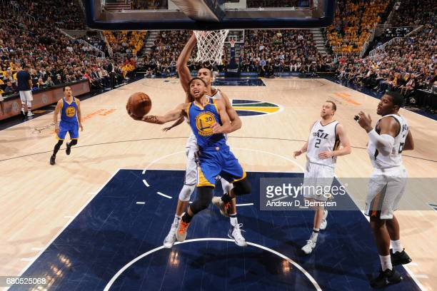 Stephen Curry of the Golden State Warriors goes to the basket against the Utah Jazz during Game Four of the Western Conference Semifinals of the 2017...