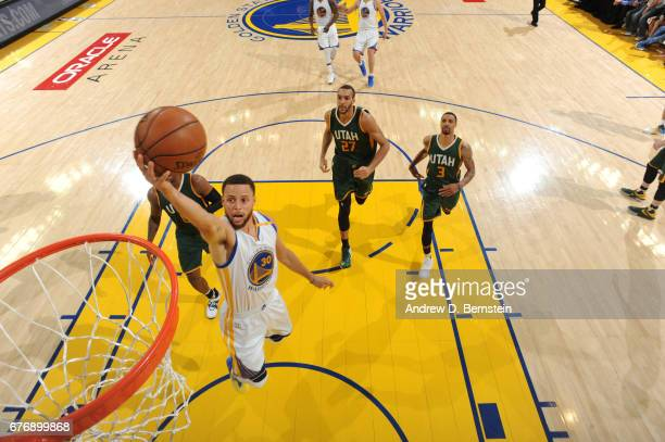 Stephen Curry of the Golden State Warriors goes up for a lay up against the Utah Jazz during Game One of the Western Conference Semifinals of the...