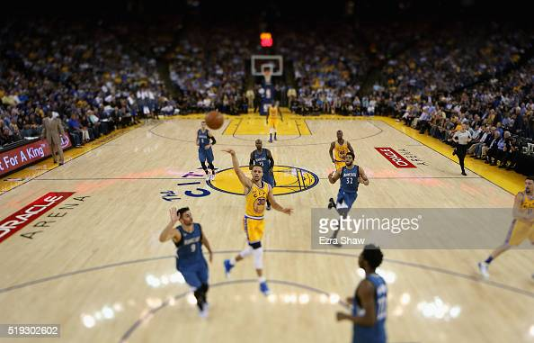 Stephen Curry of the Golden State Warriors goes up for a shot against the Minnesota Timberwolves at ORACLE Arena on April 5 2016 in Oakland...