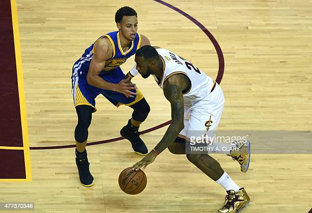 Stephen Curry of the Golden State Warriors guards LeBron James of the Cleveland Cavaliers during Game 6 of the 2015 NBA Finals on June 16 2015 at the...