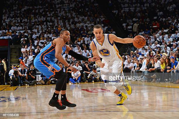 Stephen Curry of the Golden State Warriors handles the ball against Russell Westbrook of the Oklahoma City Thunder during the game on January 5 2015...