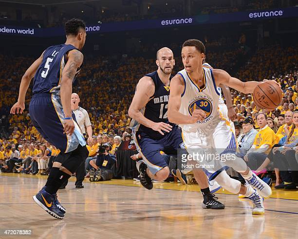 Stephen Curry of the Golden State Warriors handles the ball against the Memphis Grizzlies in Game One of the Western Conference Semifinals of the...