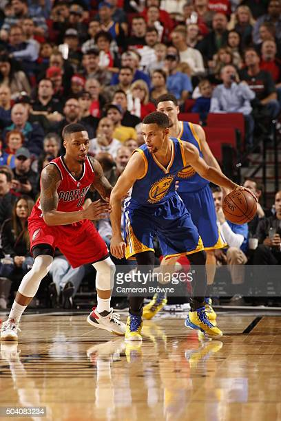 Stephen Curry of the Golden State Warriors handles the ball against the Portland Trail Blazers on January 8 2016 at the Moda Center in Portland...