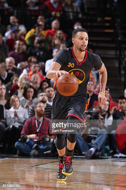 Stephen Curry of the Golden State Warriors handles the ball against the Portland Trail Blazers on February 19 2016 at the Moda Center in Portland...
