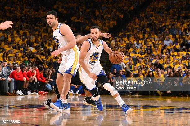 Stephen Curry of the Golden State Warriors handles the ball during the game against the Portland Trail Blazers during Game Two of the Western...