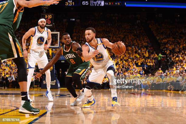Stephen Curry of the Golden State Warriors handles the ball during the game against the Utah Jazz during Game One of the Western Conference...