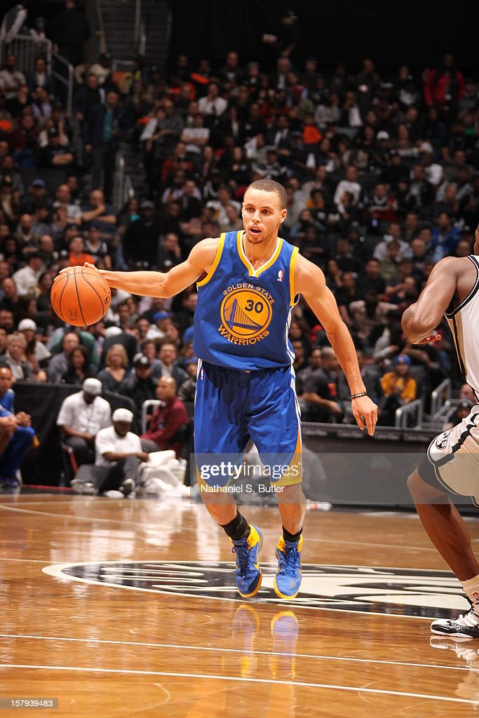Stephen Curry #30 of the Golden State Warriors handles the ball up court against the Brooklyn Nets on December 7, 2012 at the Barclays Center in the Brooklyn Borough of New York City.