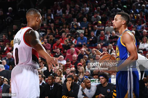 Stephen Curry of the Golden State Warriors inbounds the ball against Damian Lillard of the Portland Trail Blazers on November 1 2016 at Moda Center...