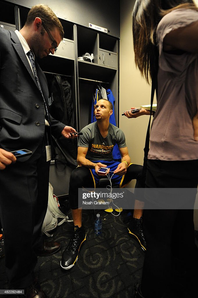 Stephen Curry #30 of the Golden State Warriors is interviewed after the game against the Los Angeles Clippers at STAPLES Center on March 12, 2014 in Los Angeles, California.