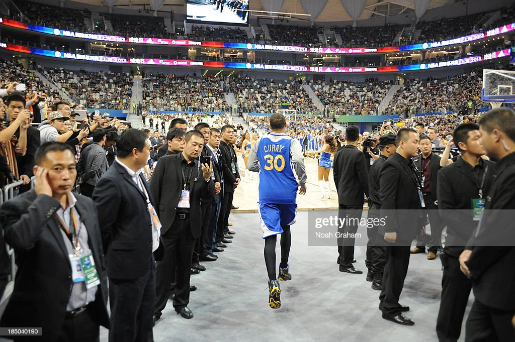 Stephen Curry of the Golden State Warriors is introduced during Fan Appreciation Day as part of the 2013 Global Games on October 17, 2013 at the Oriental Sports Center in Shanghai, China.