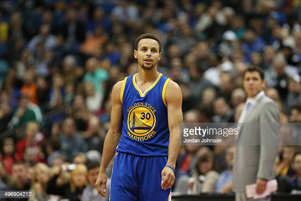 Stephen Curry of the Golden State Warriors is seen against the Minnesota Timberwolves on November 12 2015 at Target Center in Minneapolis Minnesota...