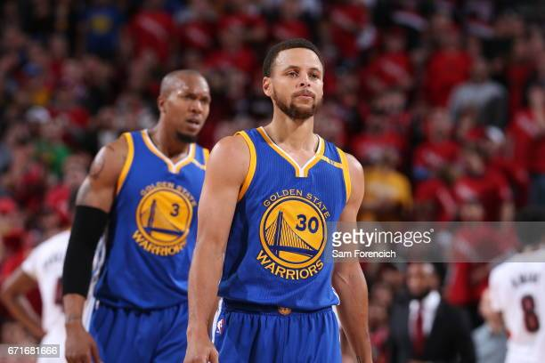 Stephen Curry of the Golden State Warriors is seen against the Portland Trail Blazers in Game Three of the Western Conference Quarterfinals of the...