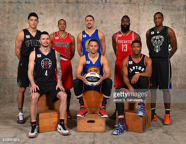 Stephen Curry of the Golden State Warriors James Harden of the Houston Rockets Klay Thompson of the Golden State Warriors Khris Middleton of the...