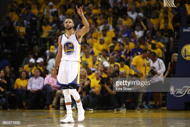 Stephen Curry of the Golden State Warriors looks on against the Cleveland Cavaliers during the second half of Game 2 of the 2017 NBA Finals at ORACLE...