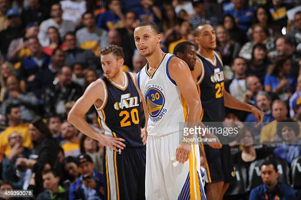 Stephen Curry of the Golden State Warriors looks on during the game against the Utah Jazz on November 21 2014 at Oracle Arena in Oakland California...