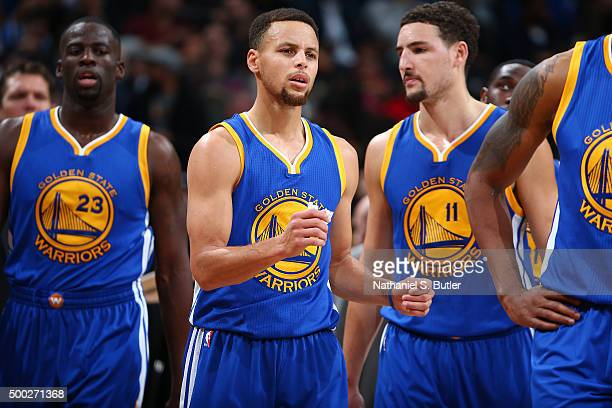 Stephen Curry of the Golden State Warriors looks on during the game against the Brooklyn Nets on December 6 2015 at Barclays Center in Brooklyn New...