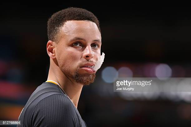 Stephen Curry of the Golden State Warriors looks on during the game against the Oklahoma City Thunder on February 27 2016 at Chesapeake Energy Arena...