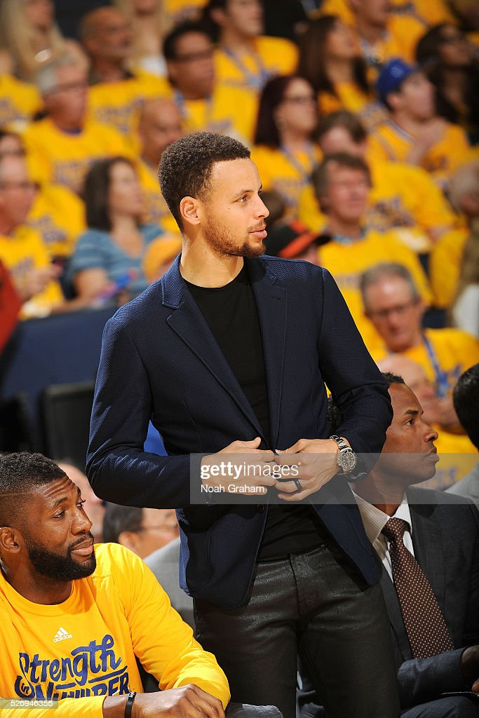 Stephen Curry #30 of the Golden State Warriors looks on during the game against the Portland Trail Blazers in Game One of the Western Conference Semifinals during the 2016 NBA Playoffs on May 1, 2016 at ORACLE Arena in Oakland, California.