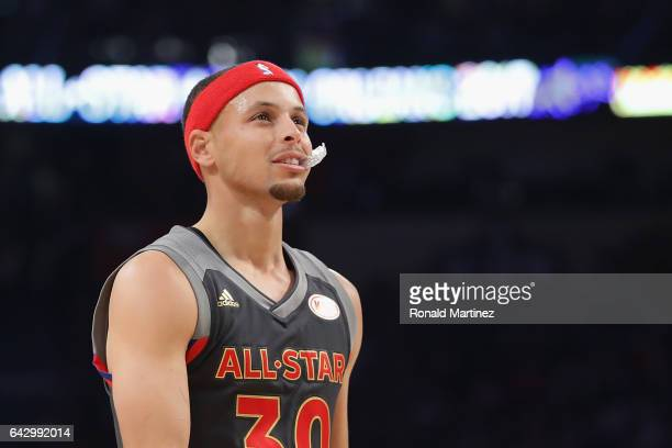 Stephen Curry of the Golden State Warriors looks on in the first half of the 2017 NBA AllStar Game at Smoothie King Center on February 19 2017 in New...