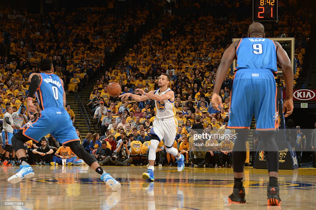<a gi-track='captionPersonalityLinkClicked' href=/galleries/search?phrase=Stephen+Curry+-+Basketballer&family=editorial&specificpeople=5040623 ng-click='$event.stopPropagation()'>Stephen Curry</a> #30 of the Golden State Warriors moves the ball against the Oklahoma City Thunder during Game Five of the Western Conference Finals during the 2016 NBA Playoffs on May 26, 2016 at ORACLE Arena in Oakland, California.