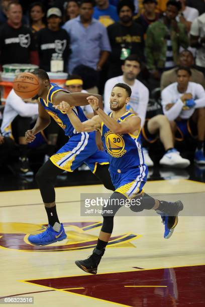 Stephen Curry of the Golden State Warriors passes the ball against the Cleveland Cavaliers in Game Four of the 2017 NBA Finals on June 9 2017 at...