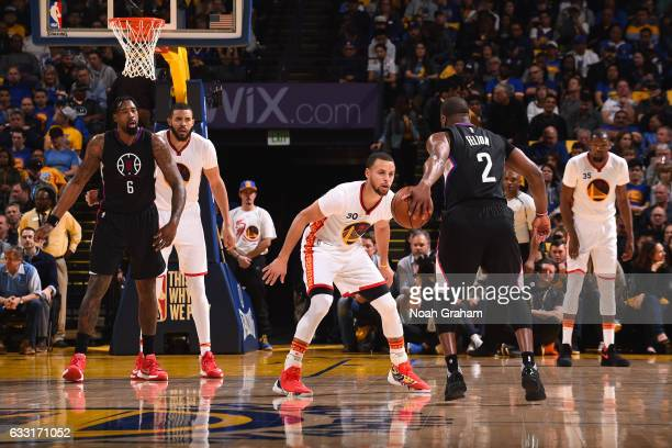 Stephen Curry of the Golden State Warriors plays defense against Raymond Felton of the LA Clippers on January 28 2017 at ORACLE Arena in Oakland...