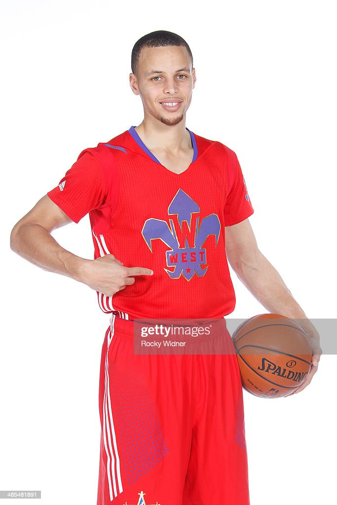 Stephen Curry #30 of the Golden State Warriors poses for a portrait in the 2014 All-Star Uniform being named a starter on January 27, 2014 at the Warriors Practice Facility in Oakland, California.